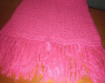 Crochet stole fuchsia cm 160x55 + 20