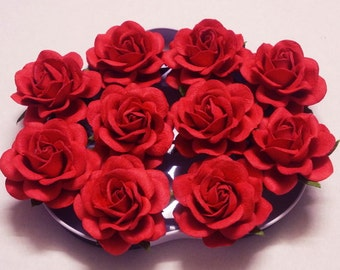 """10 Paper Flowers (Size 2"""") Mulberry Paper Craft flower, Paper flower craft wedding, Wedding, Bouquets, Red, Paper Roses."""