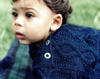 Baby sweater knitting pattern - Diamond Cable Crew 8-12 months -1-2 years
