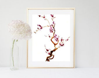 Cherry Blossom Art, Printable Art,  Flower Art Print, Printable Art, Floral Art Print,   Instant Download, Flower Wall Art, Home Decor