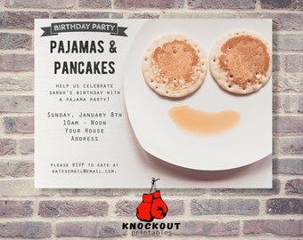 Custom Pancake Breakfast digital invitation - Pancake Party invite - Brunch - Funny Pancake invitation - Wedding brunch - DIGITAL FILE