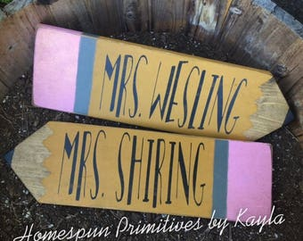 Personalized Teacher Pencil Sign, Personalized Teacher Gift, Teacher Gift, Teacher Appreciation, Wooden Sign, Pencil Sign, Pencil, Teacher