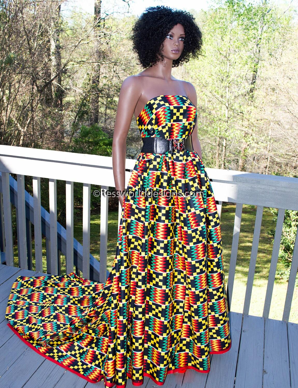 Super African Kente Print Fabric Per Yard Red Teal Wedding