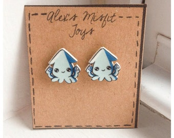 Tiny Kawaii Giant Squid Earrings