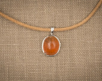 3.75 Ct Jelly Fire Opal in Sterling Silver Setting. Orange Marmalade.