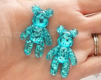 44mm glitter BEAR cabochon turquoise blue flatback adorable decoden phone case supply accessories kawaii jewelry phone decoration