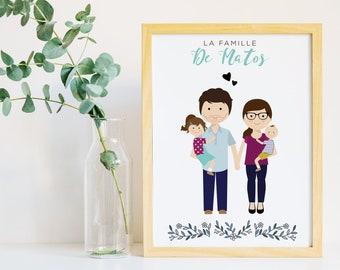 Portrait de famille personnalisé, Cadeau naissance, illustration de famille avec les animaux, cadeau de mariage, cadeau de crémaillère