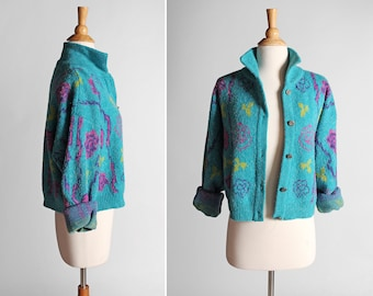 Vintage Teal Floral Crop Cardigan - Retro 1990's Long Big Sleeve Cropped Boxy Sweater Blue Purple Casual Top Button Up- Size Medium or Large