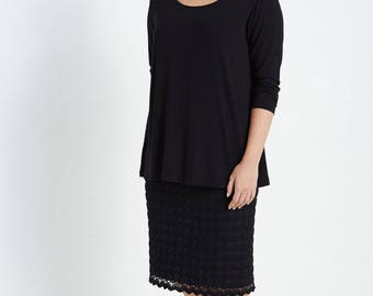 Black Jersey A Line Top 3/4 Sleeves
