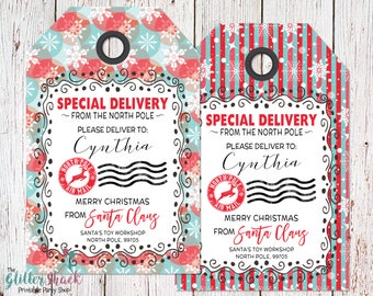 Personalized North Pole Tag, Personalized From Santa Gift Tags, Printable Christmas Tags, Christmas Gift Tags, Santa Tags, Special Delivery