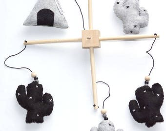Woodland Tale Teepee Cactus, Crib, Felt, Monochrome, Woodlandtale, Room Decoration, Nursery Decoration, Hanging Mobile, Handmade, Baby Gifts