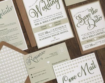 Rustic Wedding Invitation Stationery Suite with RSVP & Belly Band  - SAMPLE | Emma Range