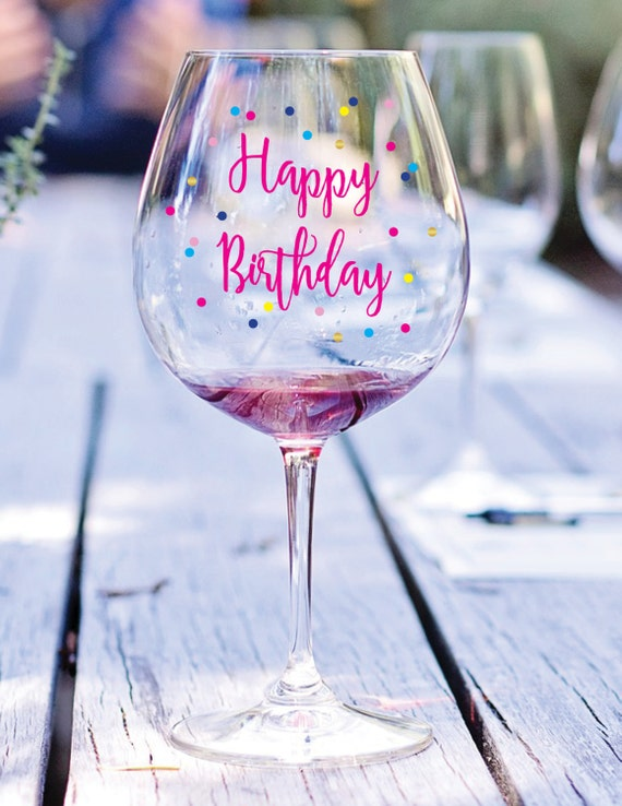 happy birthday wine glass decal birthday gift gift under 25