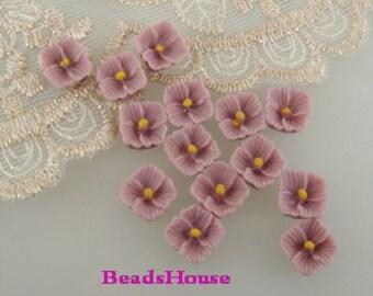 663-02-570-CA  10 pcs Petite Lilac Cabochon, Lilac /Yellow