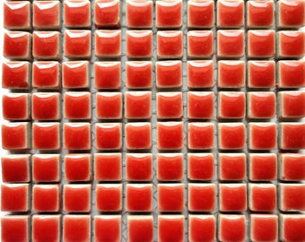 100 (10mm) MINI Salmon Coral Red Glazed Ceramic Tiles Mosaic Supplies//Mosaic Pieces//Crafts