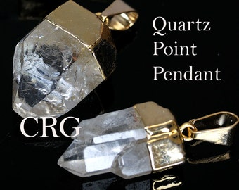 """Gold Plated Quartz Crystal Point Pendant Small 3/4-1"""" PT100sm  qty-1"""