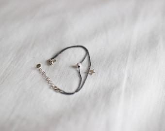 Bracelet black perle médaille argent 925