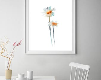 Minimalist Daisies Art Print, Botanical Watercolor Painting print, Flowers Wall Art Print, Minimalist Print