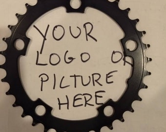 Custom bike parts clock made with your picture or logo.