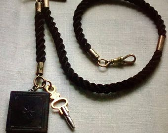 Rare Antique Victorian Hair Mourning Albert Watch Chain & Whitby Jet Book Fob