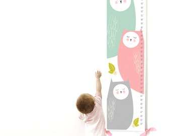 Growth Chart, Owl Growth Chart, Pink Owl Growth Chart, Custom Growth Chart, Custom Pink Growth Chart, Canvas Growth Chart
