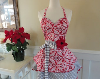 Red Damask ~ Sadie Style Women's Apron ~ 4RetroSisters