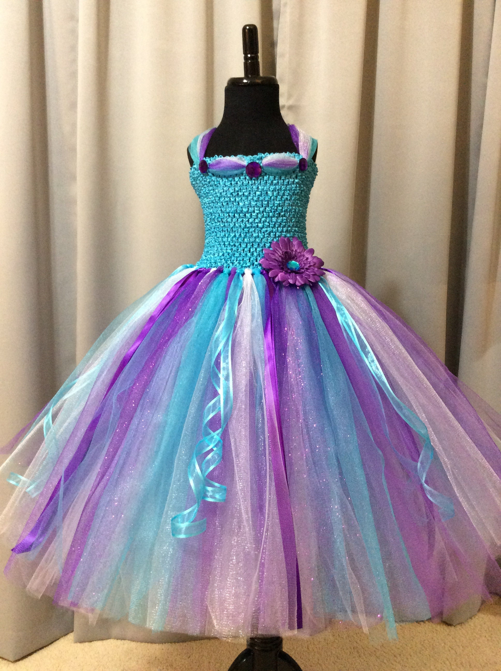 Turquoise purple and white princess tutu dress birthday gift