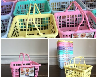 12 x vtg plastic mini SHOPPING BASKET storage containers Desk Tidy 1980s/1990s // pastel colours