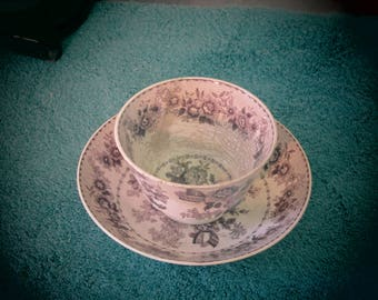 Handless  Transfer Ware Tea Cup and Saucer