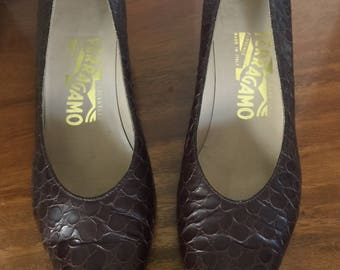 The Ferragamo Womens 6.5 AAAA Extra Narrow Brown Leather  Pattern Made In Italy Pumps Shoes
