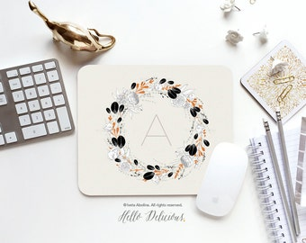 Monogram Mouse Pad Mousepad Floral Peonies Mouse Mat Wreath Mouse Pad Office Mousemat Rectangular Floral Personalized Mousepad Round 73.