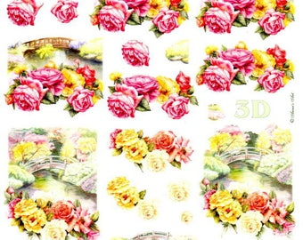 10 - 1 sheet of Images cut roses and small bridge