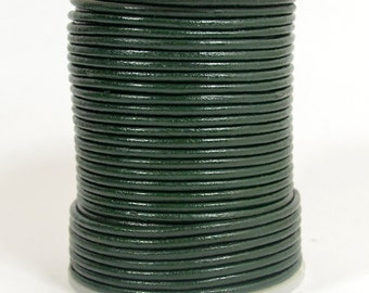 2mm Round Leather - Evergreen - L2-10879 - Choose Your Length