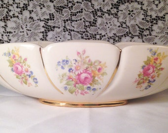 Abingdon USA Pottery Embossed Centerpiece Console Bowl with Scrollwork Handles