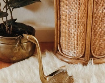 VINTAGE brass swan | midcentury modern brass swan | midcentury modern decor | midcentury modern brass decor | midcentury modern vintage