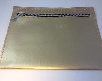 Pocket perforated bag Trapilho - faux gold - rectangle 25 x 20 cm