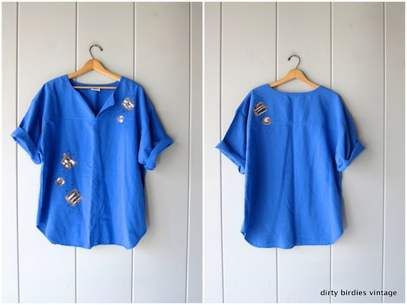 Natural Cotton Tunic Top Oversized Painted Blue Tee Minimal Thin Cotton Top Vintage 90s Short Sleeve Shirt Basic Tshirt Womens Large