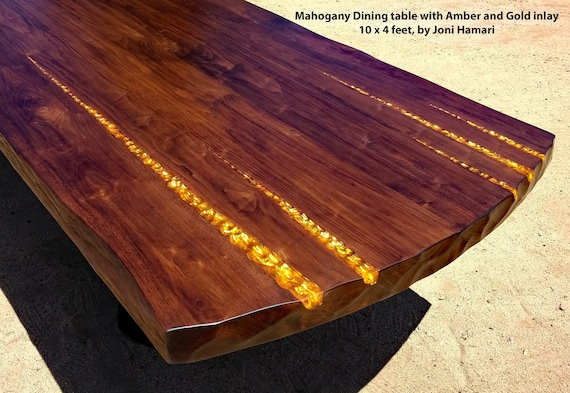 Mahogany Dining Conference Table Amber And Gold Inlay X - 10 x 4 conference table
