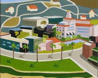 San Diego Landscape, California Landscape, Original Oil Painting, Folk Art, La Jolla, by Sandra Corey,  FREE DOMESTIC SHIPPING.