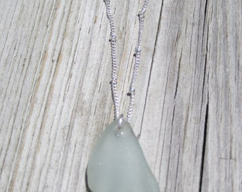 Silver beaded chain with a Lg. Lt. Seafoam Sea Glass Necklace