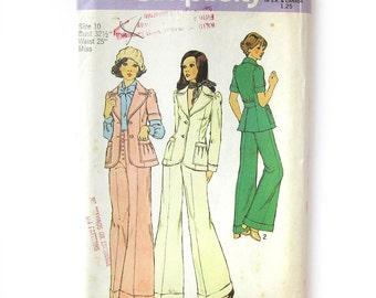 Vintage Suit Pattern / Princess Seam Jacket / Wide Leg Cuffed Pants / Annie Hall Style / Simplicity 6039 / Size 10 UNCUT FF