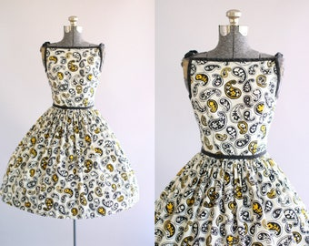 Vintage 1950s Dress / 50s Cotton Dress / Lanz Originals Black and Yellow Paisley and Botanical Print Dress XS