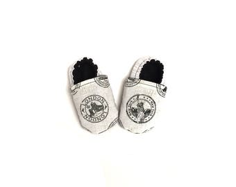 Soft Sole Baby Shoes, Gray Baby Shoes, Exploring Baby Shoes, Unique Baby Shower Gift, Passport Stamp Booties, Non-slip Moccasins, Wanderlust