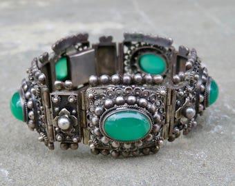 Peruzzi Jewelry,Vintage Peruzzi Bracelet,Peruzzi 800 Silver Bracelet,Green Onyx Bracelet,Peruzzi Green Stone Bracelet,Renaissance Revival