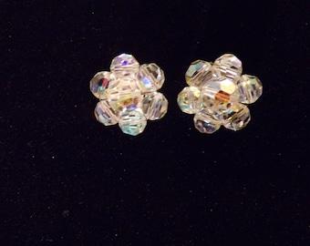 Aurora Borealis Crystal Bead Glass Round Clip On Silvertone Earrings Vintage