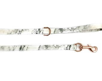 Marble Dog Leash With Rose Gold Hardware
