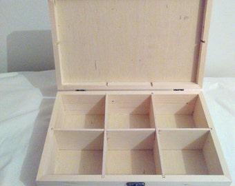 unfinished wood box 6 Compartment Wood box, splined box Tea box