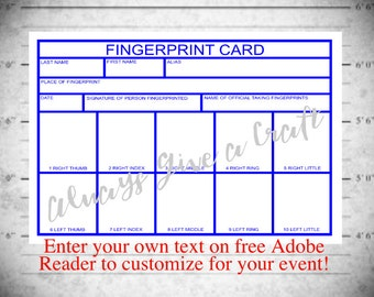 Fingerprint Card for Police Party INSTANT download with EDITABLE text boxes, at home printable template