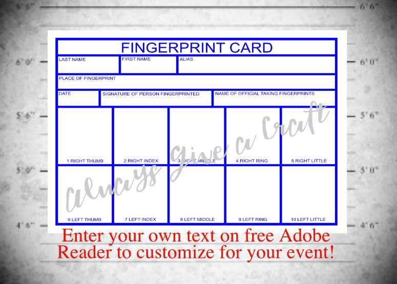 fingerprint card for police party instant download with