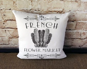 French Flower Market Pillow - French Market Pillow - Flower Market Pillow - French Decor - French Farmhouse Pillow - French Country Pillow